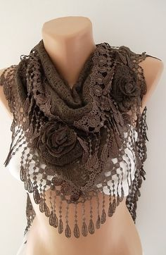 Brown Rose Shawl/ Scarf - Headband -Cowl with Lace Edge - Lace Scarf- Rose Scarf