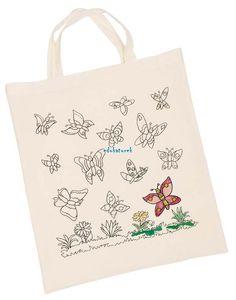 3aafb72bab97b Duża bawełniana torba do kolorowania MOTYLKI goki 4+ Textiles, Paper  Shopping Bag, Reusable
