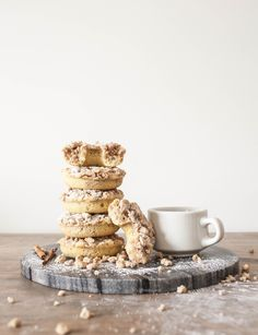 """Coffee Cake Donuts.  offbeat & inspired says:  """"This is a coffee cake recipe for those who love everything rich, sweet, buttery, cakey and crumbly. There's only one requirement: have it with coffee.""""   I say:  I'm going to try it as a coffee cake instead of donuts!"""
