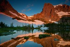 "Helene's Mirror | ""These images were taken with GND filters at sunrise from Lake Helene after a dark (3 mile) hike up from the Bear Lake trailhead in Rocky Mountain National Park, near Estes Park, Colorado."" 