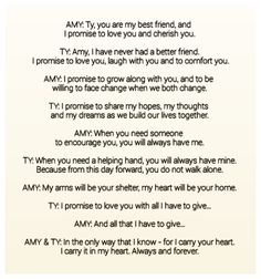 Amy & Ty's Wedding Vows