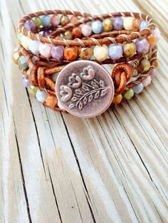 Triple Leather Wrap Bracelet  Opaque Boho
