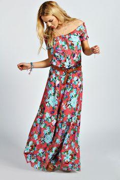 Jamie Off The Shoulder Floral Maxi Dress at boohoo.com