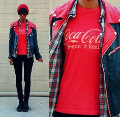 Vintage Leather Jacket, Thrifted Plaid Button Down Shirt, Thrifted Coca Cola Shirt, H&M Black Skinnies