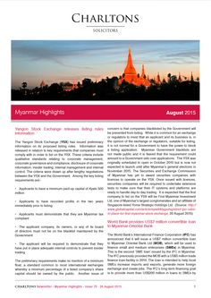 Myanmar Highlights - 26 August 2015 - Yangon Stock Exchange releases listing rules information