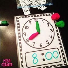 Fun ways to practice telling time - a lot of great ideas for teaching time to the hour and half hour Telling Time Activities, Teaching Time, Math Activities, Teaching Ideas, First Year Teaching, First Grade Activities, Teaching Spanish, Math Classroom, Kindergarten Math