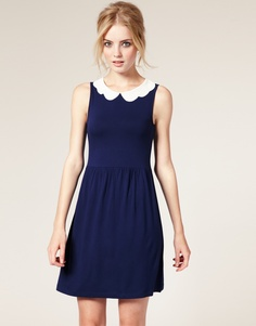 ASOS Waisted Dress with Scallop Collar
