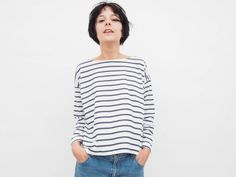 Striped shirt Long Sleeve Tshirt Oversized with Blue by ANNAKSHOP