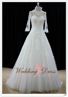 Wedding Dress with Sleeves and Lace Aline by WeddingDressFantasy, $1270.00