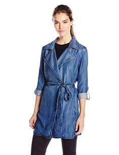 NYDJ Womens Drapey Trench Coat In Denim Large ** You can find out more details at the link of the image.