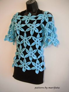 Free crochet patterns and video tutorials: How to crochet flower tunic top sweater free pattern tutorial
