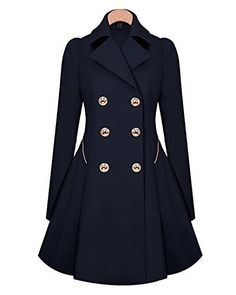 OUGES Women's Double-Breasted Long Thin Jacket Trench Coa...