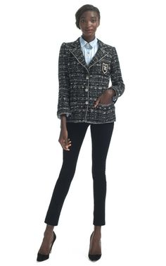 Chanel Metallic Tweed Logo Crest Jacket by Decades Inc. for Preorder on Moda Operandi