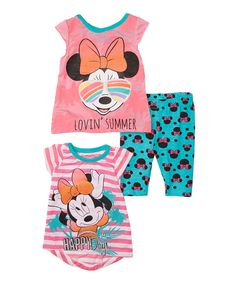 Pink Minnie Mouse Three-Piece Tee & Pant Set - Infant by Minnie Mouse #zulily #zulilyfinds