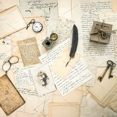 Old letters and postcards. Education Photos