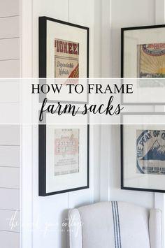How To Frame Farm Sacks by The Wood Grain Cottage … Framed Burlap, Framed Fabric, Coffee Sacks, Burlap Sacks, Basement Inspiration, Grain Sack, Vintage Kitchen Decor, Do It Yourself Home, Farmhouse Chic