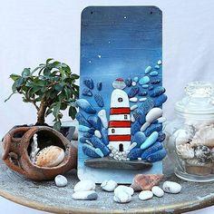 . Collections/ Lighthouse/ 13.5 x 29.5 cm  #lighthuse #faro #sea #landscape #stoneart #rockart #pebbleart #paintedstones #painting #handmade #artwork #stone #sassi #natureart #handmadeatamazon #mondoartigianale