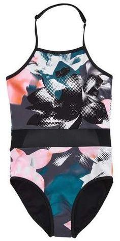 8df816e65083c Zella Horizon Mesh Inset One-Piece Swimsuit Bathing Suits One Piece, Girls  Bathing Suits