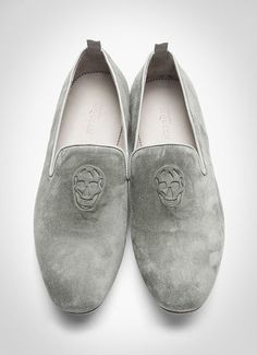 Grey Suede & Embossed Loafers, by Alexander McQueen. Mens Spring Summer Fashion. #alexandermcqueenshoes