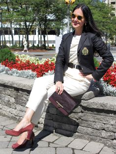September 14, 2012 http://www.akeytothearmoire.com/post/31520595338/executive-perceptions #work attire #professional attire #work appropriate #black #cream #ivory #gold #crested blazer #Ralph Lauren #oxblood #burgundy #bordeaux #pant suit #calf hair #tortoise #Michael Kors #DKNY #Cole-Haan #Banana Republic