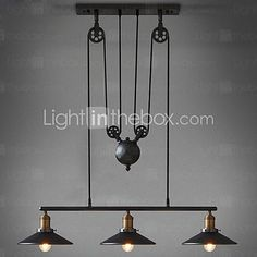 American Country Wrought Iron Chandelier, Industrial Wind Pendant 3 Lights Bulb Included - USD $ 249.99