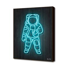 """Trademark Fine Art Octavian Mielu """"Astronaut"""" Canvas Art at Lowe's. This ready to hang, gallery-wrapped art piece features a neon blue line drawing of an astronaut. Giclee (jee-clay) is an advanced printmaking process for Canvas Frame, Canvas Wall Art, Canvas Prints, Canvas Canvas, Canvas Size, Framed Wall Art, Framed Prints, Pop Art, Illustrator"""