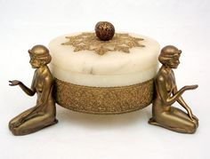 German spelter and marble Art Deco figural powder box, : Lot 131