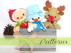 Set of Three Christmas PDF Ornaments patterns-Christmas Ornaments pattern-Snowman ornament-Reindeer ornament-Elf ornament-Stocking stuffers
