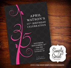 Items similar to Birthday Invitation on Etsy 90th Birthday Invitations, 35th Birthday, Birthday Celebration, Birthday Parties, Birthday Ideas, Burlesque Party, Baby Shower Announcement, Digital Invitations, Party Party