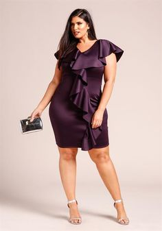 Plus Size Cascading Ruffle Bodycon Dress