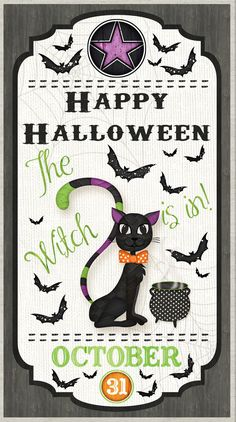 Halloween Black Cat Bat Cotton Fabric Wilmington Every Witch Way Panel Halloween Stoff, Halloween Fabric, Halloween Door, Halloween Ghosts, Halloween Themes, Happy Halloween, Halloween Runner, Every Witch Way, Patches