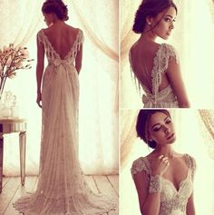 2015 Sexy Anna Campbell V Back Wedding Dresses Cheap Beach Wedding Dresses Beads Capped Sleeves Vintage Lace Bridal Gowns Chic Wedding Gowns Wedding Robe, Dream Wedding Dresses, Wedding Gowns, Chic Wedding, Ivory Wedding, Backless Wedding, Wedding Vintage, Vintage Weddings, 20s Wedding