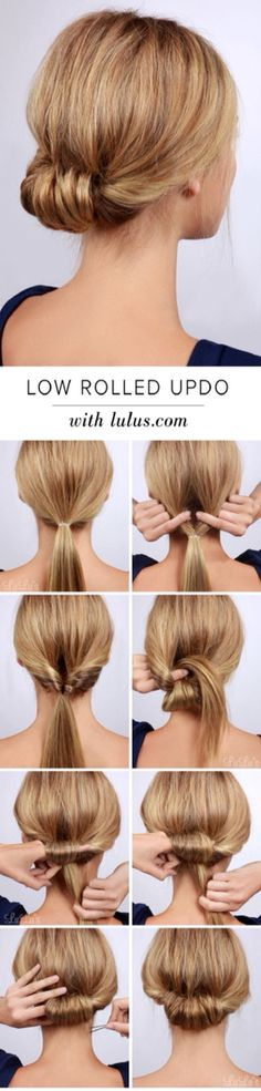 """Best Hairstyles for Summer - Low Rolled Updo Hair Tutorial - Easy and Cute Hair ., Easy hairstyles, """" Best Hairstyles for Summer - Low Rolled Updo Hair Tutorial - Easy and Cute Hair . - Source by Low Rolled Updo, Twisted Bun, Low Updo, Rolled Hair, Quick Updo, Updo Tutorial, French Plait Tutorial, Headband Tutorial, Hair Buns"""