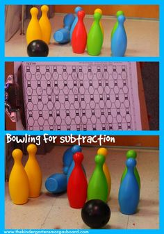 Bowling For Subtraction is a great activity for visualizing subtraction.  Great for whole group math and math centers or math tubs!