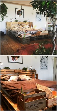 To make this bed frame, I used ten pallets (120x120cm), and leftover wine crates after family meals.For the mattress, 8 pallets were fastened together. On