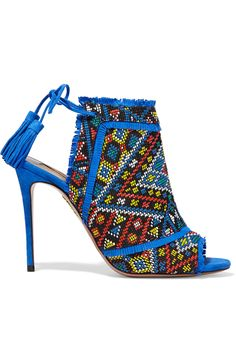 Aquazzura Colorado embroidered suede sandals.
