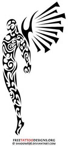 tribal angel Small Tribal Tattoos, Tattoo Tribal, Tatto Ink, Tatoo Henna, Tribal Tattoo Designs, Body Art Tattoos, Sleeve Tattoos, Cool Tattoos, Mic Tattoo
