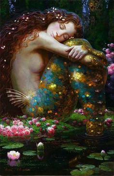 Mermaid Painting by Victor Nizovtsev