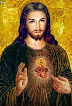 Sacred Heart of Jesus Jesus Our Savior, Heart Of Jesus, Jesus Is Lord, Pictures Of Jesus Christ, Religious Pictures, Croix Christ, Jesus Wallpaper, Jesus Tattoo, Christ The King