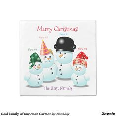 Cool Family Of #Snowmen Cartoon Paper Napkin