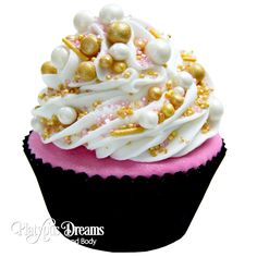 French Hussy Cupcake Bath Bomb - I like the colors, would do this as a melt & pour cupcake soap with swirled pink for the base, and a 3 color blend of whipped soap frosting for the top, with the little mini soap peals and sprinkles on top