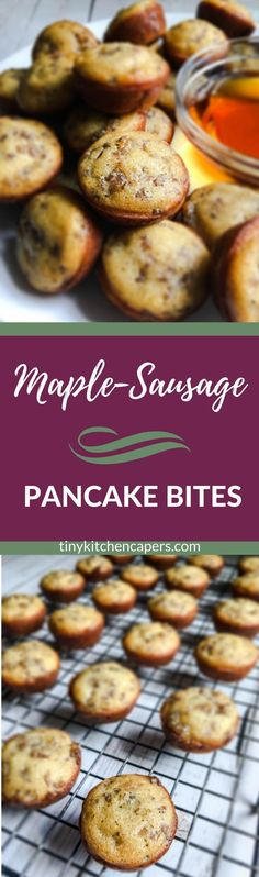 Delicious little made-from-scratch pancake mini muffins with real maple syrup and sausage baked right in. Better make lots, they disappear fast! | tinykitchencapers.com