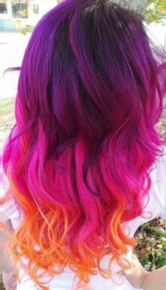 Purple pink orange hair