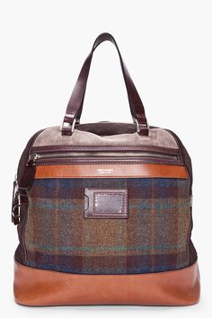 7ee90b41d75 DSQUARED2 Brown Patchwork Dean Bowling Bag Bowling Bags