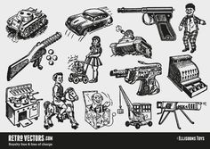 Vintage Toy Vectors   Vintage Vectors   Royalty Free   Free of Charge   Commercial Use   Free Retro Vectors