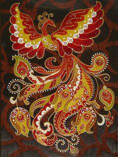 "Photo from album ""Жар птица"" on Yandex. Peacock Painting, Peacock Art, Dot Art Painting, Mandala Painting, Força Interior, Phoenix Art, Russian Art, Fractal Art, Flower Making"