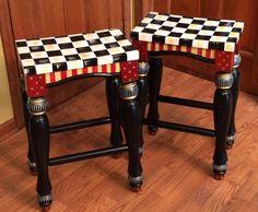 """Whimsical hand painted turned leg bar stool saddle seat 24"""""""