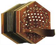 A musical instrument resembling an accordion but having buttonlike keys, hexagonal bellows and ends, and a more limited range.