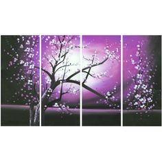 Design Art Blossoming in the Moonlight, Wall Art Canvas, 4 Pieces, 48 inch x 28 inch, Multicolor