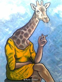 smoking-giraffe Giraffe, Smoking, Gallery, Artist, Artwork, Animals, Painting, Felt Giraffe, Work Of Art
